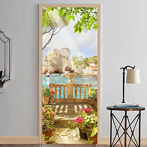 Pegatinas para puerta 3D desmontables de PVC impermeable para el hogar, decoración moderna (77 cm x 200 cm)