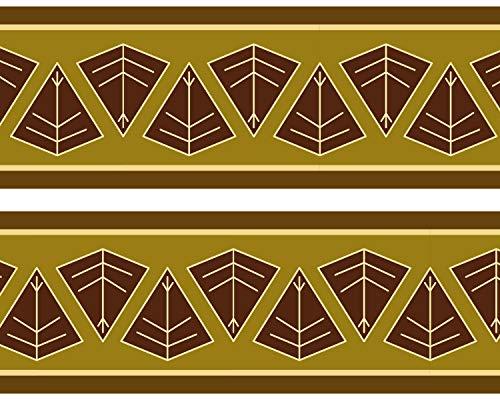 wandmotiv24 Bordüre Afrikanisches Schild 520cm Breite - Vlies Tapetenbordüre Borte Wandborde Borde Africa braun Muster BO034