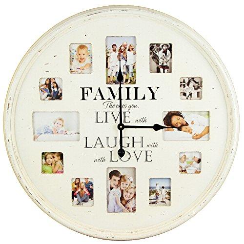 enorme klok wandklok familie met ruimte voor 12 foto's 78 cm