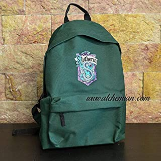 Slytherin, zaino ricamato verde stemma Serpeverde, Harry Potter Hogwarts