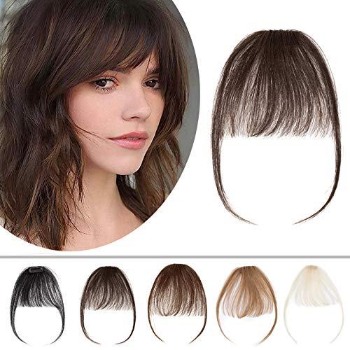 Silk-co Hair Bangs Clip in Extensions Echthaar Haarteile Echthaar 02# Dunkelbraun Pony Haarverlängerung Weich Natürlich Franse 7A Remy Haare 20cm 3g Dunkelbraun