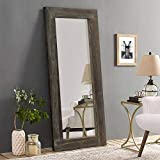 Trvone Full Length Mirror Floor Mirror Rustic Wood Frame, Hanging Vertically or Horizontally or Leaning Against Wall, Large Bedroom Mirror Dressing Mirror Wall-Mounted Mirror, 58'x24'…