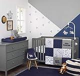 Carter's Explore Baby Bear 4Piece Navy, Grey, Light Blue, Orange Nursery Crib Bedding Set - Comforter, 100% Cotton Crib Sheet, Dust Ruffle, Changing Pad Cover, Navy, Grey, Light Blue, Orange