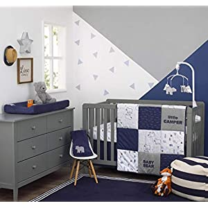 Carter's Explore Baby Bear 4Piece Navy, Grey, Light Blue, Orange Nursery Crib Bedding Set – Comforter, 100% Cotton Crib Sheet, Dust Ruffle, Changing Pad Cover, Navy, Grey, Light Blue, Orange