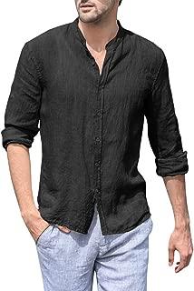 Mens Button Down Shirt Linen Long Sleeve Banded Collar Casual Regular Fit Roll-up Sleeve Pocket T Shirt