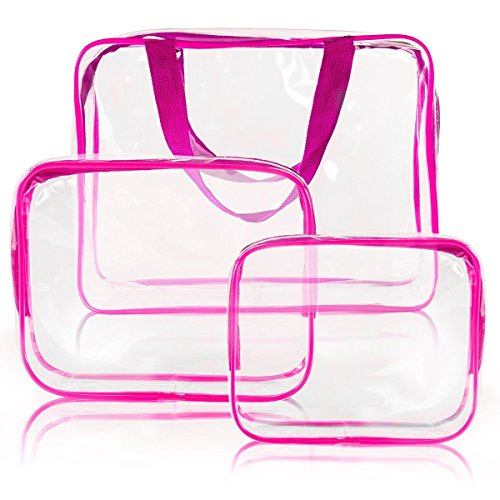 X charmer 3pcs Clear PVC Toiletry Makeup Wash Bag Travel Set Waterproof Organizer Storage Bag with Zipper Closure and Handle Straps (Hot Pink)