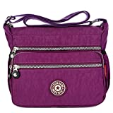MINGZE Mujer Bolsos de Moda, Impermeable Mochilas Bolsas de Viaje Bolso Bandolera Sport Messenger Bag Bolsos Mano para Escolares Nylon Casual Shopper (Púrpura)