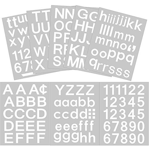 202 Pieces 8 Sheets Self-Adhesive Vinyl Letters Numbers Kit, Mailbox Numbers Sticker for Mailbox, Signs, Window, Door, Cars, Trucks, Home, Business, Address Number (1 Inch, White)