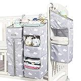 Organizador de guardería, organizador de pañales para bebé, organizador de pañales colgante para cama de bebé, cuna, cambiador o pared (gris)