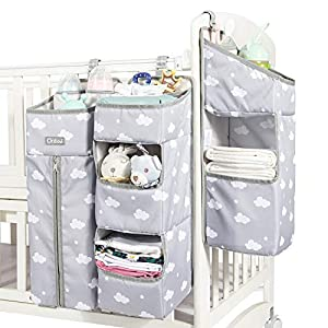 Orzbow 3-in-1 Nursery Organizer and Baby Diaper Caddy | Hanging Diaper Organization Storage for Baby Essentials | Hang on Crib, Changing Table or Wall (gray)