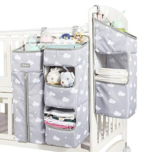 Aufhängetasche für 3-in-1-Kinderbetten, abnehmbarer Wickelkommode Organizer, multifunktionaler Windel Organizer mit großer Kapazität (Grau)