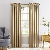 Sun Zero Barrow Panel de cortina de bolsillo para barra de eficiencia energética, Marrón topo, 1.37 m x 2.41 m