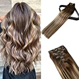 18In 10A Grade Clip In hair Extensions Medium Brown Fading To Blonde Highlight Double Drawn Silky Long Straight Human Hair 100% Remy Human Hair Sew In Weave Salon Quality For Women 120g7PCS(18In)