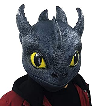 Lucky Lian Toothless Night Fury Costume Cosplay Toys Latex Mask Costume Adult Size  Toothless Mask