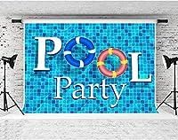パーティーのためのHDブルースイミングプールの背景10x7ftソフトコットンをテーマにしたパーティーの装飾用品写真撮影の小道具LHFS1073