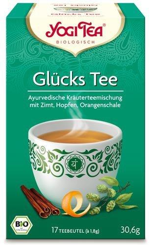 Yogi Tee, Glücks-Tee, 4er SPARPACK , Biotee, man schmeckt die wärme eines glücklichen Sommertages, 17 Teebeutel, 30,6g