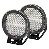 AUXTINGS 2 Pieces 9 inch 294W LED Pods Light Bar Black Round 24000Lm Waterproof Spot Beam Led Work Light Off Road Lights Driving Light for Truck SUV ATV Tractor Boat