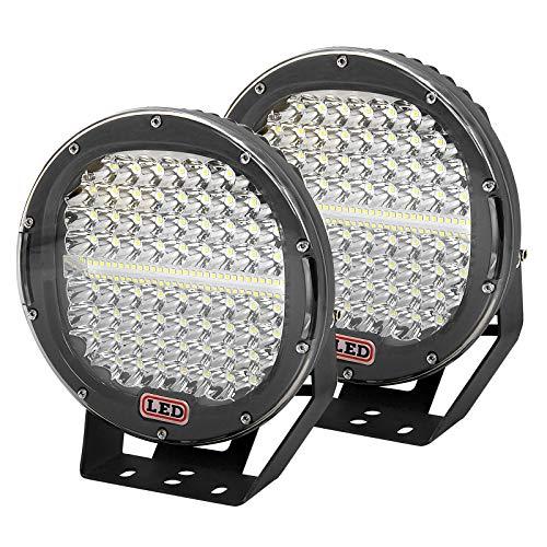 AUXTINGS 2 piezas de 9 pulgadas 23cm 294W LED barra de luz negro redondo 20000lm impermeable haz puntual luz de conducción de trabajo compatible con camión todoterreno tractor barco todoterreno