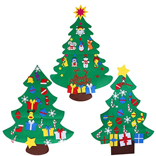 Guoyajf Lot De 3 Sapins De Noël en Feutre pour Les Enfants, 120 Cm Arbre De Noël De Bricolage avec 78 Pcs Détachables Ornements De Noël, Cadeaux De Noël, Décorations De Porte De La Nouvelle Année