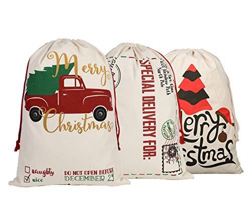 KEFAN Weihnachtssack aus Segeltuch für Geschenke, Nikolaussack mit Kordelzug, groß, 70 x 50 cm, 3 Stück Elch Muster 11