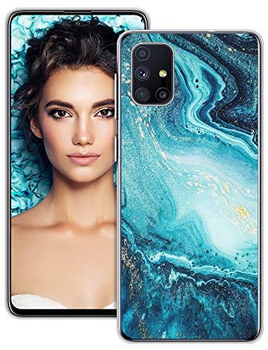 2Buyshop Galaxy M51 Hülle Kompatibel mit Samsung Galaxy M51 Hülle Silikon TPU Original Schutzhülle Transparent 360 Grad Ultra Dünn Marmor Blumen Muster Handyhülle Hülle für Galaxy M51 Tasche