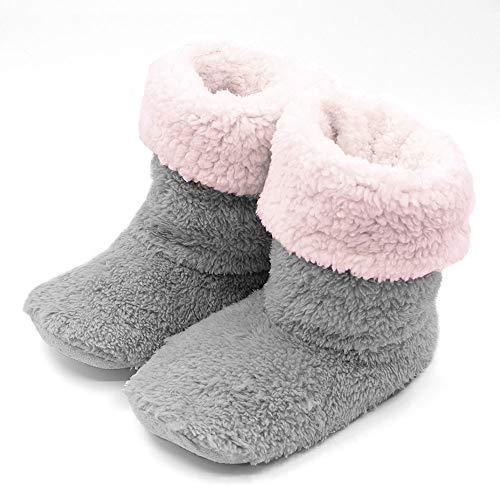 ルームシューズ スリッパ 北欧 冬 暖かい ルームブーツ もこもこ 足冷え対策 あったか ボアスリッパ 冬専用 可愛い 靴 滑り止め 静音 2way 洗濯可 メンズ レディース (グレー, M/22.5~24cm)