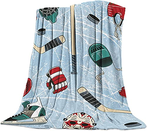 BONRI Hockey Turnschuhe Ball Cap Luxuriöse Flanell Werfen Decke für Schlafzimmer Wohnzimmer Sofa Couch Stuhl Leichte, Warme Fleece-Decken für Alle Jahreszeiten Abstrakte Retro Blau,40x50 Zoll