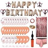 Globos De Cumpleaños Decoraciones de Fiesta de Cumpleaños Globos Oro Rosa Globo Feliz Cumpleaños con Globos de Confeti, Estrella y Corazón, Borlas Brillantes, Bomba, para Mujer Chica