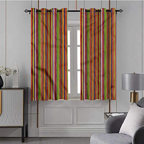Country Curtain Stripes,Home Decoration Blackout Curtains Barcode Style Lines/Drapes/Panels for Kid's Room 42x54 Inch,2 Panels
