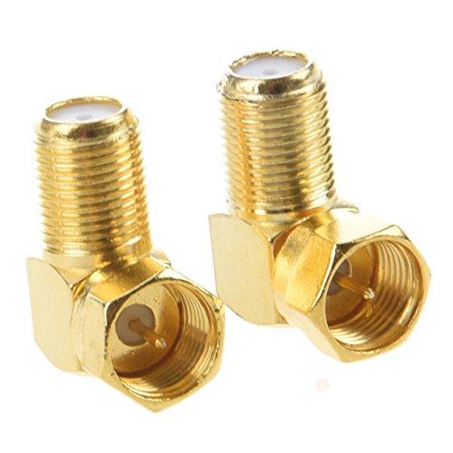 SODIAL(R) 2 x adaptateur/connecteur coaxial RF F m?le vers F femelle angle droit