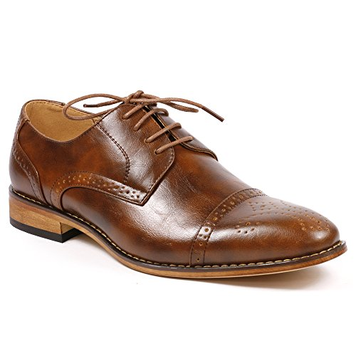 UV Signature UVS20A Men's Brown Cap Toe Perforated Lace Up Oxford Dress Shoes (12)