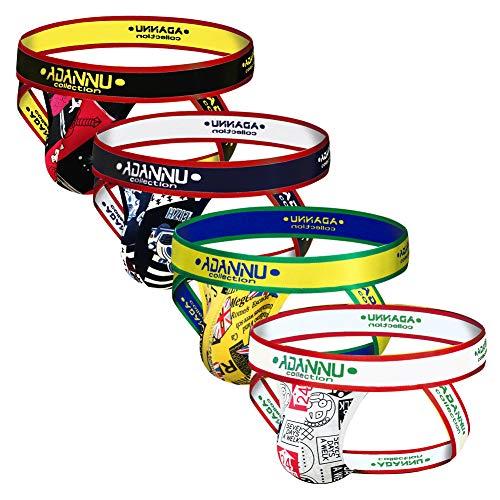 ADANNU Men's Jockstrap Athletic Supporters Micro Fiber Pouch 4-Pack Cartoon Jock Strap Athletic Underwear (Large30.5''-33''/77cm-84cm)