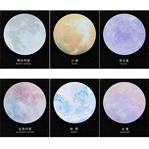 12 Pieces Planet Sticky Notes Earth Moon Sticky Notes Planet Self-Adhesive Notes Cute Self-Stick Memo Pad Notes for School Classroom Office Notebook