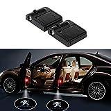 YenCar カーテシライト ドアウェルカムライト ドアカーテシランプ レーザーロゴライト LEDロゴ投影 ゴーストシャドウ ドアランプ 2個 (Peugeot)
