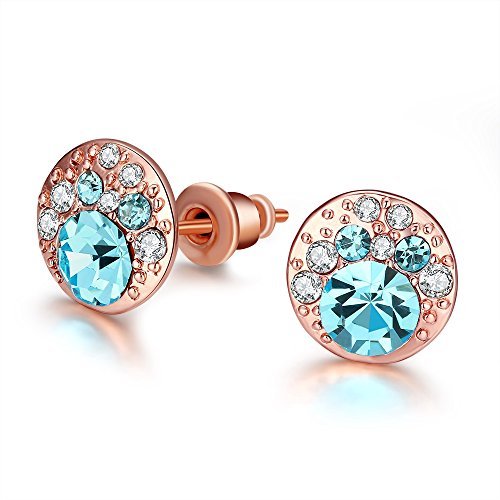 FushoP Azul Redondo Corte de Cristal cúbicos Zirconia Stud Earrings (Oro de Rose Plateado)