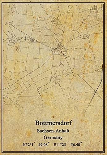 Leinwanddruck, Motiv: Deutschland-Flagge, Bottmersdorf Sachsen-Anhalt, Vintage-Stil, ungerahmt, Dekoration, Geschenk, 61 x 91 cm