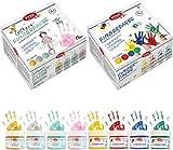 Viva KIDS Fingerfarben (Großes Set) 8 x 100 ml Dosen Fingerfarbe ungiftig & hoch deckend für Kinder auf Wasserbasis. 4 x Basis Farbe & 4 x Glitter/Glanzfarben Made in Germany