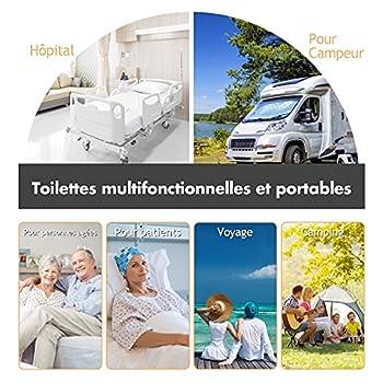GOPLUS 20L Toilette Portable WC Chimique Mobile pour Camping Caravanes Hôpital Voyage en HDPE 41x35x41 Gris/Vert (Gris)