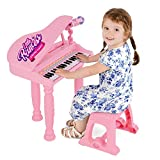 ToyStar Kids Toy Piano With Stool And Microphone, Mini Grand Piano Keyboard Toy For Toddlers, Music Gift For Girls Boys, MP3 Function, Age 3 To 8 Years Old