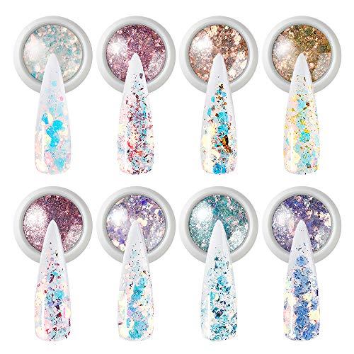 VOXURY 8 Botes Purpurina Polvo, Glitter Flakes Brillantes para Uñas Lentejuelas Brillos Decoración para Nail Art, Cabello y Cuerpo(Con Bolsa de almacenamiento)