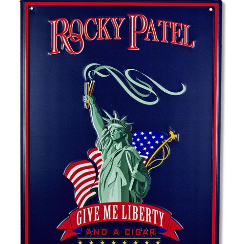 """Large 22 x 30 Rocky Patel""""Give Me Liberty and a Cigar"""" Metal Sign"""