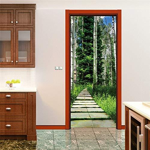 HONIC 3D Neue Geprägte Vase Bonsai-Tür-Aufkleber für Schlafzimmer Wohnzimmer Self Adhesive Mural Wasserdicht Poster Umweltfreundliche Grundbild: NM16, 77x200cm