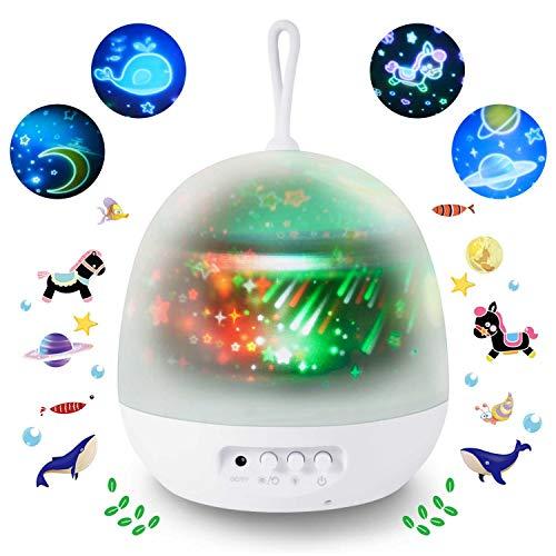 Lámpara Proyector,Iluminación Romántica con Rotación 360 Grados de Estrellas y Cosmos,Lámpara Infantil con Control de Temporizador, USB & Pilas y 8 Modos para Niños, Novia, Cumpleaños y Fiesta