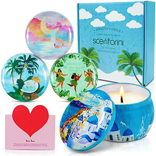 SCENTORINI Bougies Parfumées Coffret Cadeau Bougies à la Cire Végétale, 120h, Série de Vacances d'Été sur l'Île (Santorin, Maldives, Bahamas, Hawaï)