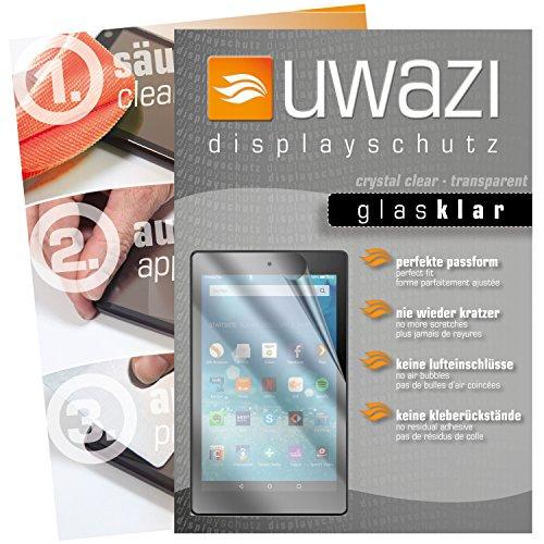 uwazi I 3X Glas-klare Schutzfolie für Amazon Fire HD 8 (Modell 2017 Bildschirmschutzfolie I Folie I Anti Fingerabdruck I Anti Kratzer