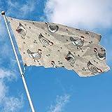wallxxj Blumen Flagge Huhn Zeichnungsdruck 150X90Cm Vivid Outdoor Bunte Garten Fahnen Yard Flag Standard Willkommen Holiday Yard Banner
