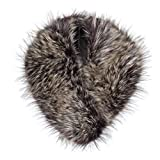 Futrzane Detachable Faux Fur Collar Wrap for Women - Retro Scarf - Like Real Fur (Hazel Wolf)