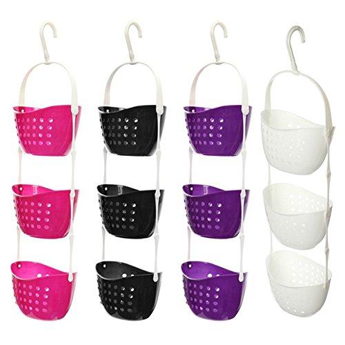 VOOYE 1 cestino da appendere in plastica a 3 ripiani, impermeabile, resistente, per doccia, bagno, cestino portaoggetti da appendere alla porta (22 x 15 x 13 cm, bianco)