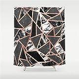 Traci Kroll Moderner Roségold Glitter Marmor geometrischer Dreieck Duschvorhang