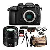 Panasonic LUMIX GH5 4K Mirrorless Camera with 12-35mm Lens,128GB SD Card, Camera Backpack, Shock Mount, Aluminum Tripod and Battery and Dual Charger Bundle (7 Items)